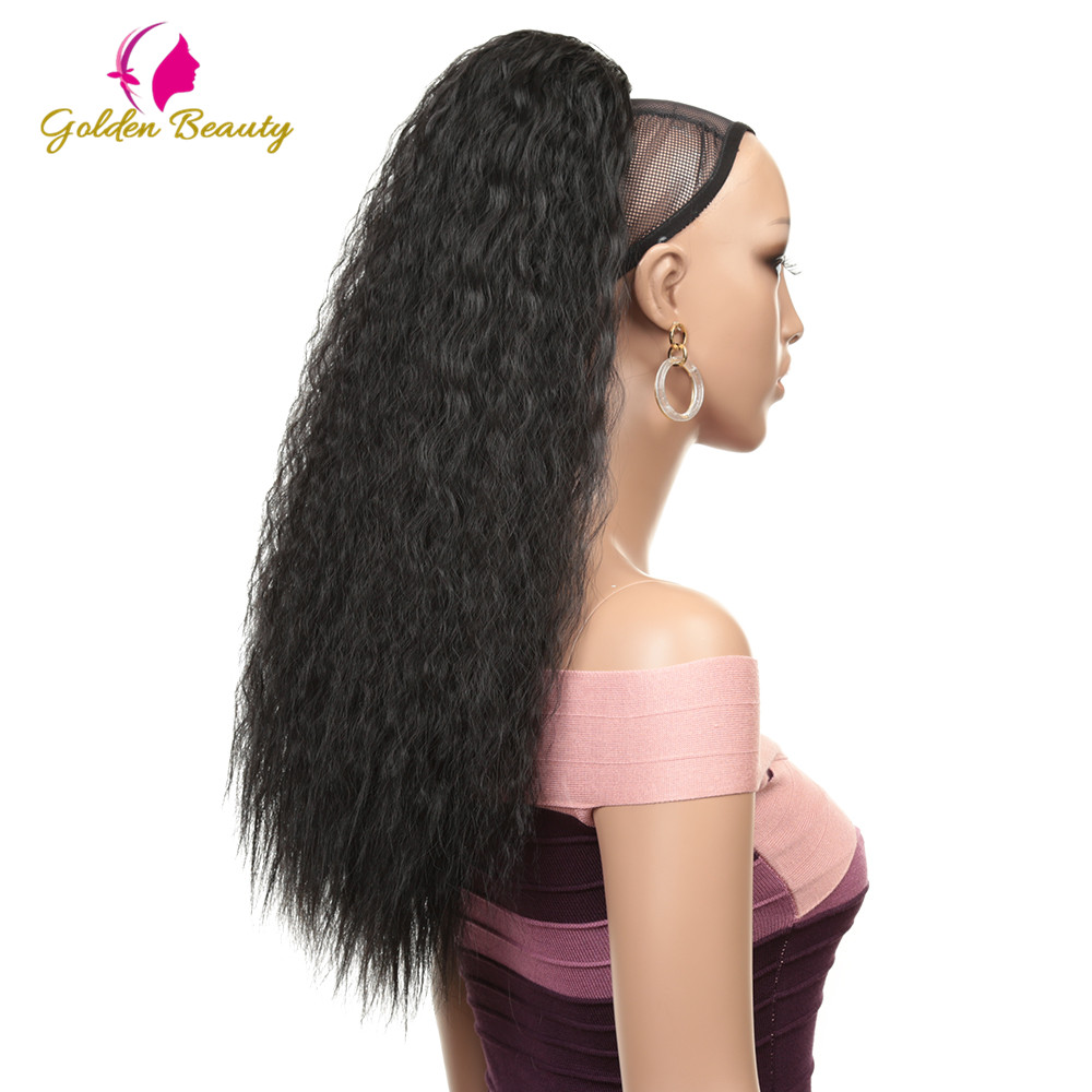 Golden Beauty Drawstring Afro Ponytail Synthetic Clip In Hair Extensions Long Kinky Curly Ponytail Wrap Around Women's Hairpiece