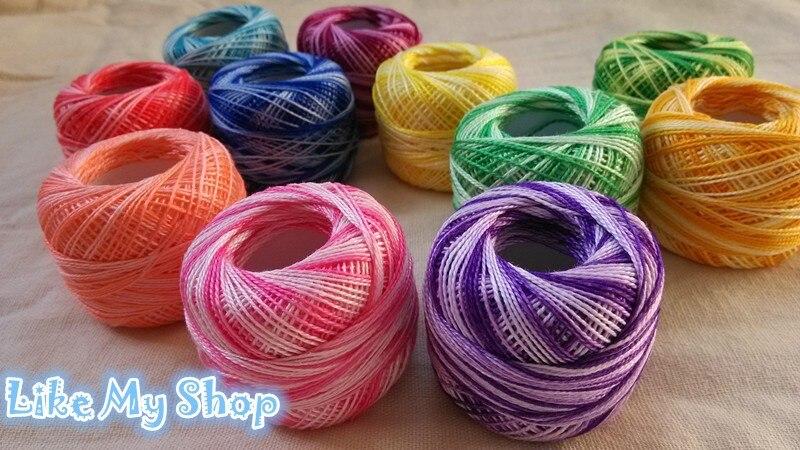 30 разных цветов хлопок пестрая нить 8 S вышивка крестиком вышивальная нитка для вязания пряжи