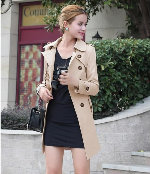 1PC Trench Coat For Women Double Breasted Slim Fit Long Spring Coat Casaco Feminino Abrigos Mujer Autumn Outerwear 4