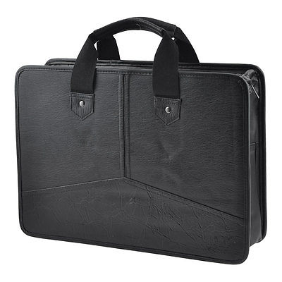 Black Faux Leather Zippered Rectangle Meeting Contract Pen File Bag Container подарочный набор sen soy для суши 394г