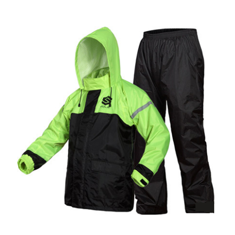 Fashion Sports Raincoat Suit Man & Woman Waterproof Fission Raincoat Suit Motorcycle rainwear +pants Outdoor Fishing 2 Color