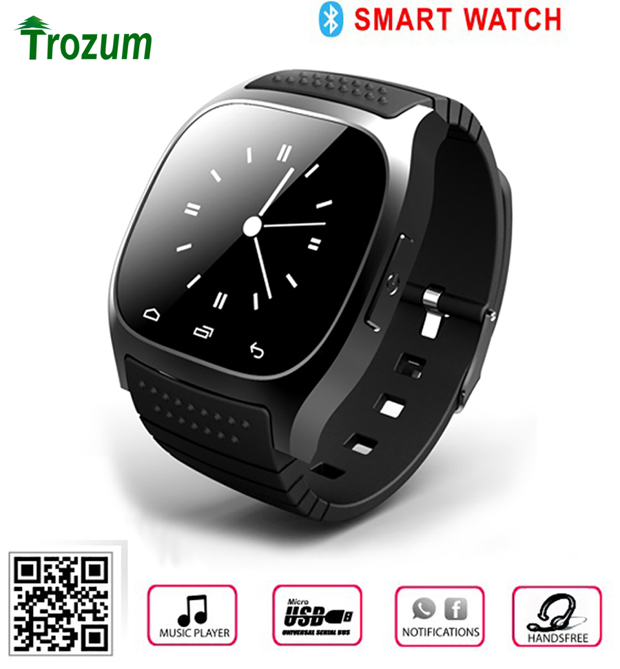 TROZUM M26 Smartwatch 2017 Bluetooth Smart Watch with LED Display/Dial /Alarm/Music Player/Pedometer for smart Phone Android 1OS