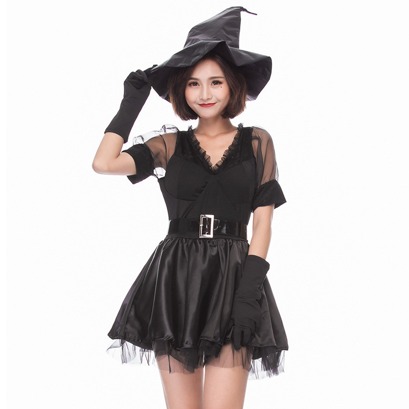 Witch Costume Sexy V-Neck Lace Halloween Fancy Dress