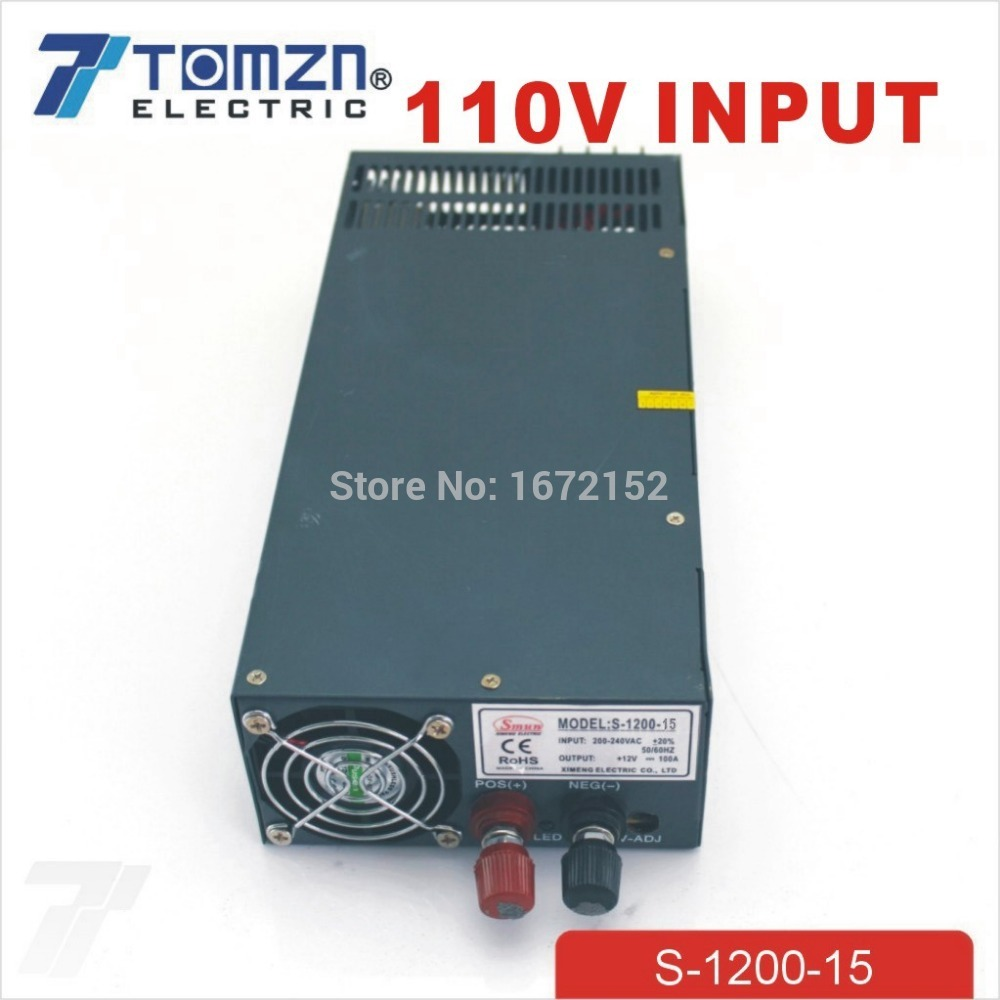 1200W 15V 80A adjustable 110V input Single Output Switching power supply for LED Strip light AC to DC best quality 12v 15a 180w switching power supply driver for led strip ac 100 240v input to dc 12v