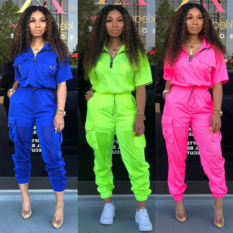 2 TWO PIECE SET Mesh Stitching Half Sleeve Joggers Cargo Pants Women Tracksuit Satin Jacket ZIPPER Sweat Suits Summer Sportsuit