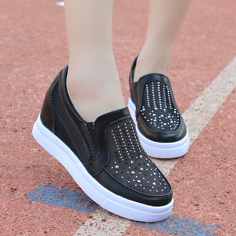 Bling Women Shoes Mesh Breathable Summer Sneakers Crystal Hidden Heel Shoes Elevator Lofers Ladies Creepers Zapatos Mujer instantarts women flats emoji face smile pattern summer air mesh beach flat shoes for youth girls mujer casual light sneakers