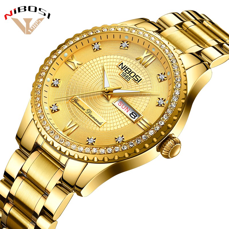 Relogio Masculino 2018 Gold Watches Men Luxury Brand Wristwatches Fashionable Crystal Men Watches Stainless Date And Week Saat