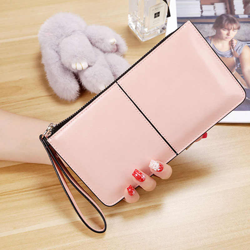 High Capacity Fashion Pink Women Wallets for mobile phone bags Candy Color Soft Oil Wax Leather Long ladies Zipper Clutch Bag