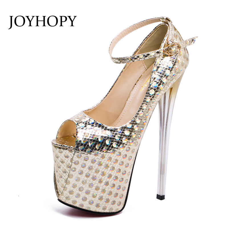 JOYHOPY Women Platform Pumps Spring Summer 20cm High Heels Sexy Sequined Leather Thin Heels Peep Toe Sandals High Heels Woman 2016 summer peep toe thin thick high heels pumps with platform rhinestones buckle sandals women pu pink white blue sexy shoes