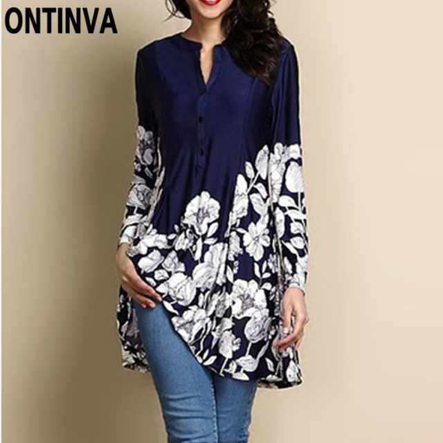 e759a4e55a097 Women Floral Print V Neck Blouses Plus Size 4XL 5XL Long Sleeve Tunics Tops  2018 Bohemian