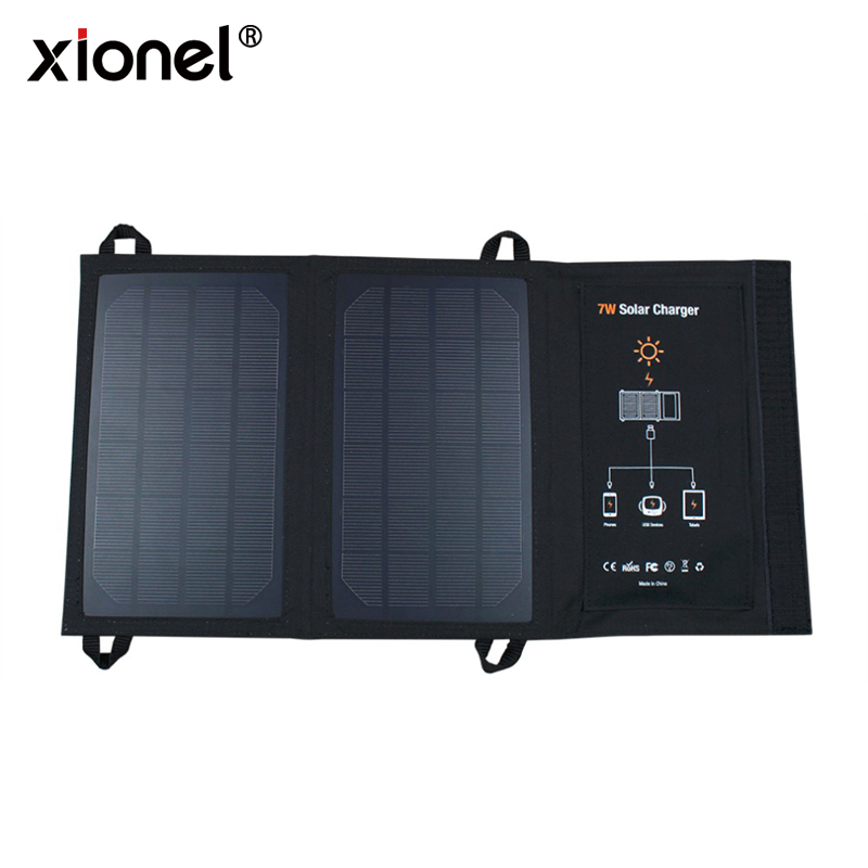 Xionel Portable 7W Solar Charger Solar Panels Charger with Usb Port Solar Battery Charger Power for Mobile Phones