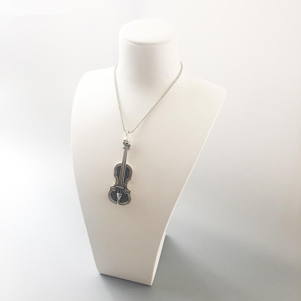 Skull Violin Pendant 925 Sterling Silver Black Zirconia