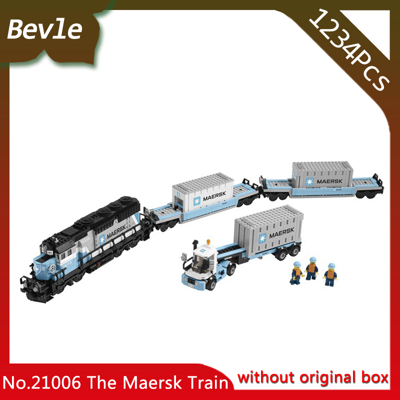 Bevle Store Lepin 21006 1234Pcs Genuine Technic Series The Maersk Train Building Blocks For Children Toy 10219 with original box lepin 21006 compatible builder the maersk train 10219 building blocks policeman toys for children