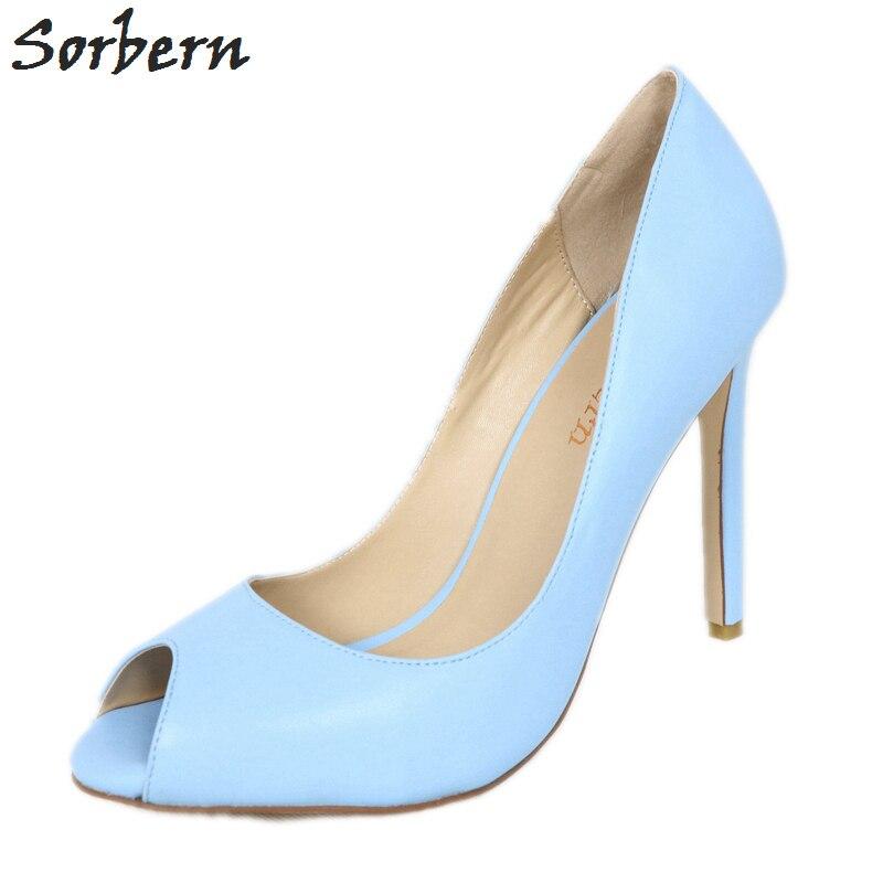 cc6352c8ccab6 Sorbern Sky Blue Peep Toe Women Pump Shoes High Heel Slip On Stilettos Ol Footwear  Sexy Heels Women'S Shoes Size 13 Custom Color - aliexpress.com - imall. ...