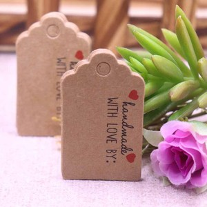 100 pcs 3x5cm hand made with love Kraft /white paper tags Thank you labels bag label handmade paper gift tag handwork price tags