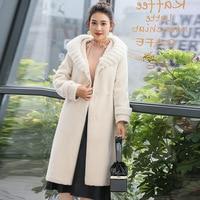 Autumn Winter Real Fur Coat Women Sheep Shearing Wool Coat Female Jacket Mink Fur Collar Hooded Korean Long Fur Coats 117 KJ2509
