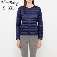 NewBang Womens Down Jacket Portable Thin Slim Ultra Light Down Jackets Collar Less Feather Coat With