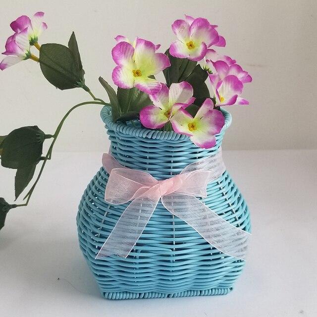 Com Bowknot Suculentas Videira Resistência À Corrosão Durável Imitação Handmade Leve Tecido Artesanato Vaso de Flores Decoração de Casa