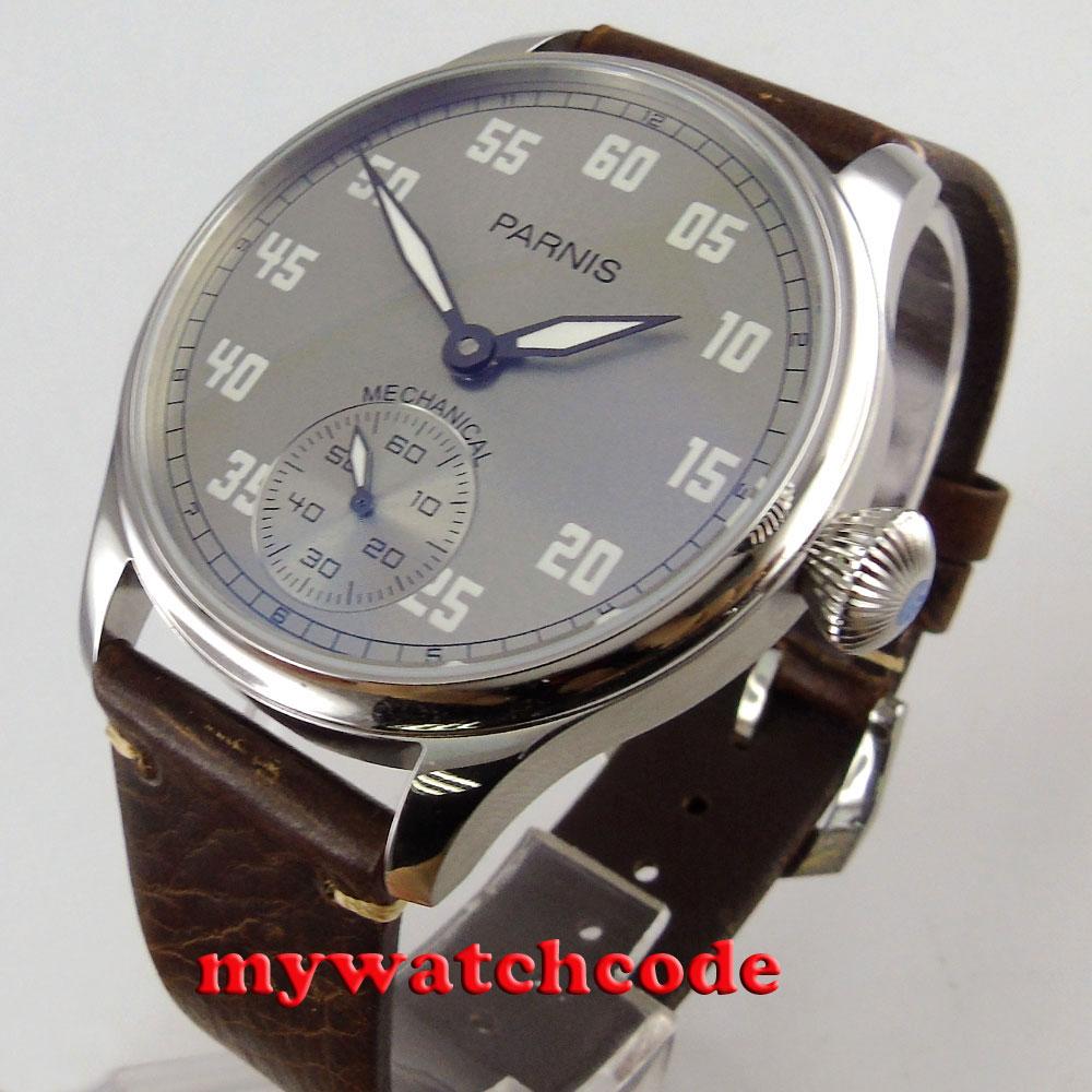 parnis gray dial luminous aisa 6498 movement manual wind leather mens watch bornhohe eduard aisa