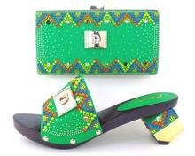 Heißer Verkauf Grün Gehobenen Afrikanische Schuhe Frau Und Taschen set Fashion Damen Schuhe High Heels Pumps Mit Geldbörse Kostenloser Versand