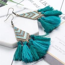 Long Women earrings Vintage Bohemia Long tassel Earrings Tassel earring for women jewelry New Fashion Blue tassel earring Arrow