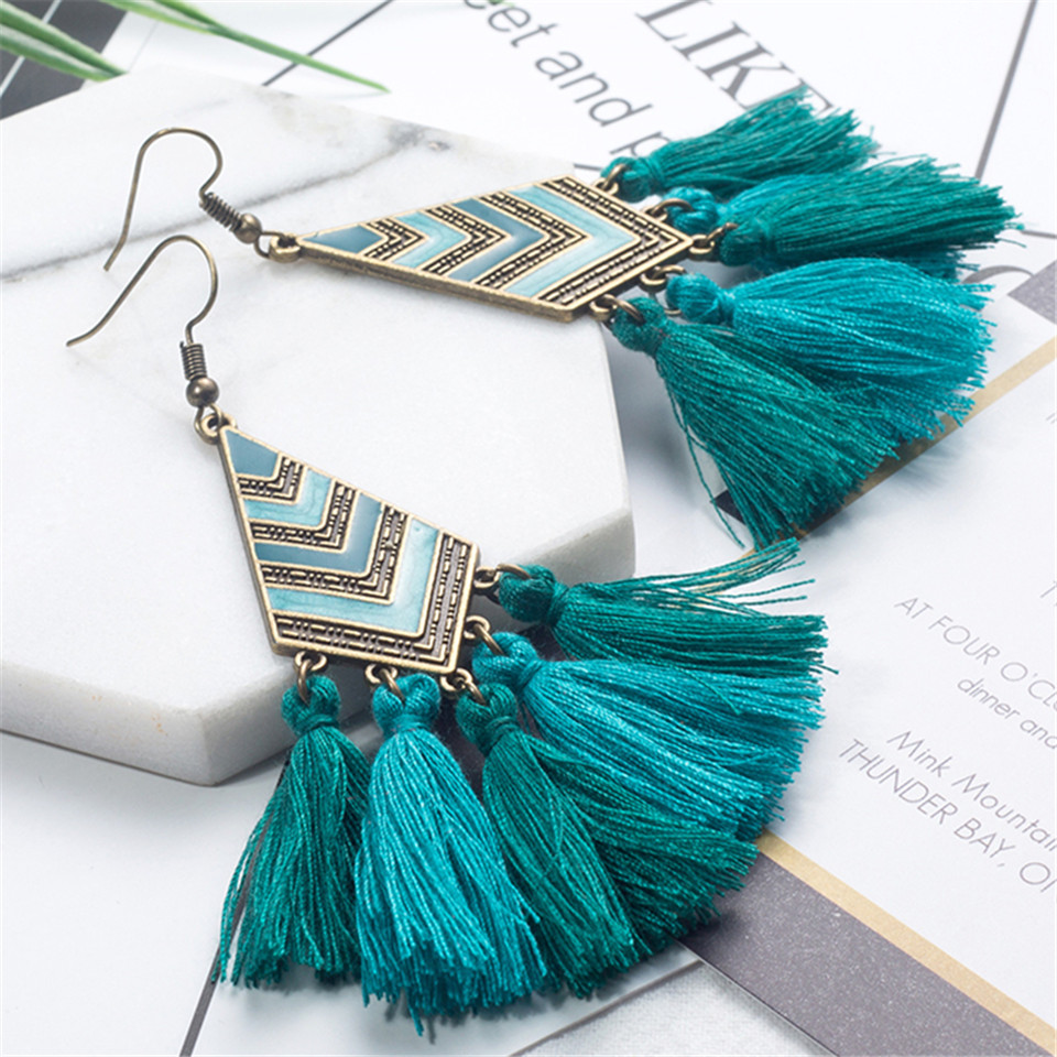 Long Women earrings Vintage Bohemia Long tassel Earrings Tas