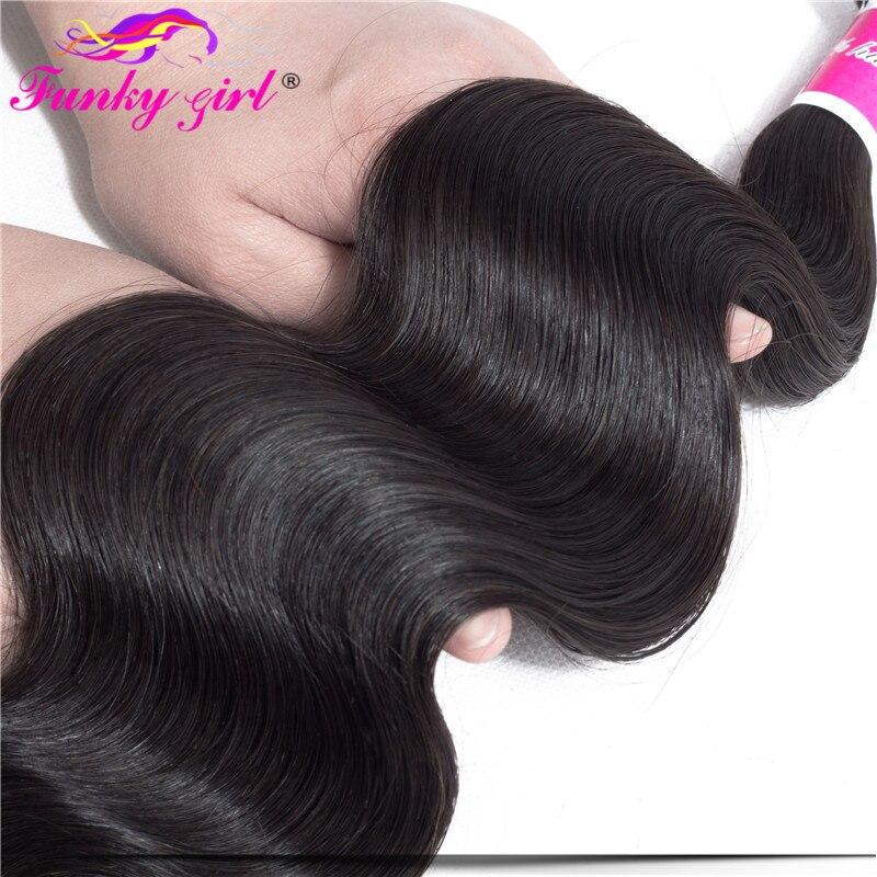 HTB1XjA5gVuWBuNjSszbq6AS7FXal Funky Girl 3/4 bundles with frontal Peruvian Body Wave Human Hair Lace Frontal Closure With Bundles Non Remy Frontal With Bundle