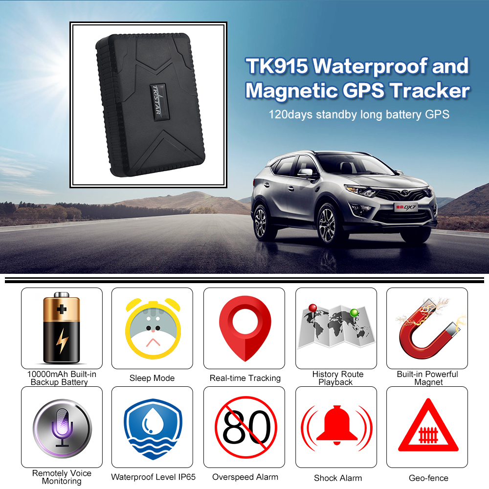 Newest TKSTAR Car Vehicle Truck GPS Tracker Locator TK915 Waterproof Magnetic absorption anti fall alarm 10000mAh