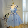 Sky Blue Prom Dresses Puffy  Light Blue Short Prom Dress Vestidos De Graduacion Cortos Short Graduation Dresses Butterfly V Neck