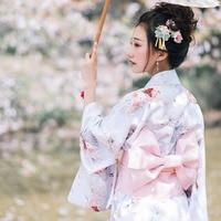 Vintage Women Kimono Japanese Style Elegant Evening Dress Gown Classic Yukata With Obi Girl Cosplay Costume Printed Long Robe