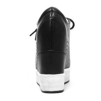 DORATASIA Lace-up Height Increasing Sneakers Women 2019 Genuine Leather High Heels Shoes Woman Sewing Platform Footwear Ladies