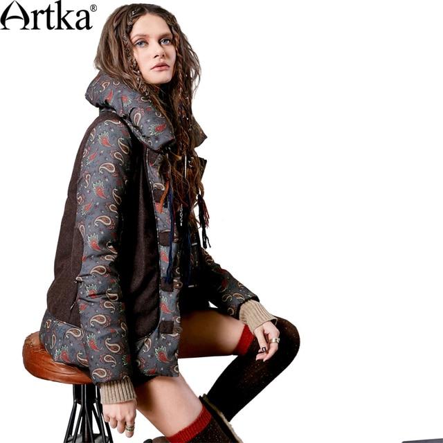 Artka Women's Winter Printed Woolen Patchwork Down Outerwear Vintage Stand Collar Long Sleeve Horn Botton Down Coat DK10565D