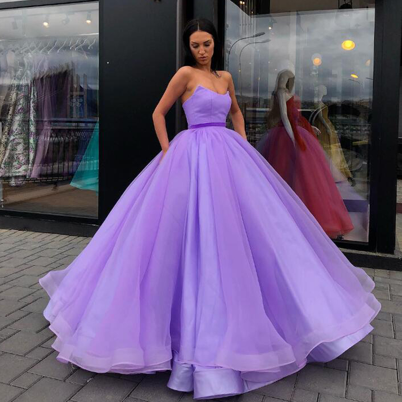 Orange Ball Gown Evening Gowns V Neck Strapless Organza Satin Floor Length Plus Size Prom Gowns Women Maxi Dresses - 2