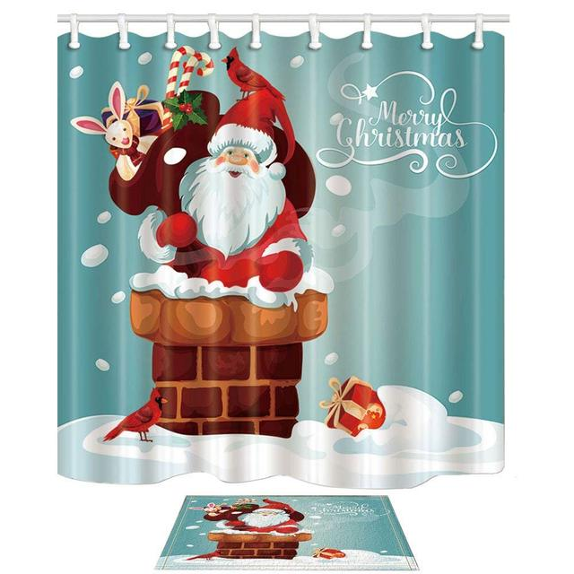 Merry Christmas Festive Decor Santa Claus Gets Into Chimney Mildew Shower Curtain Suit Floor Doormat Bath
