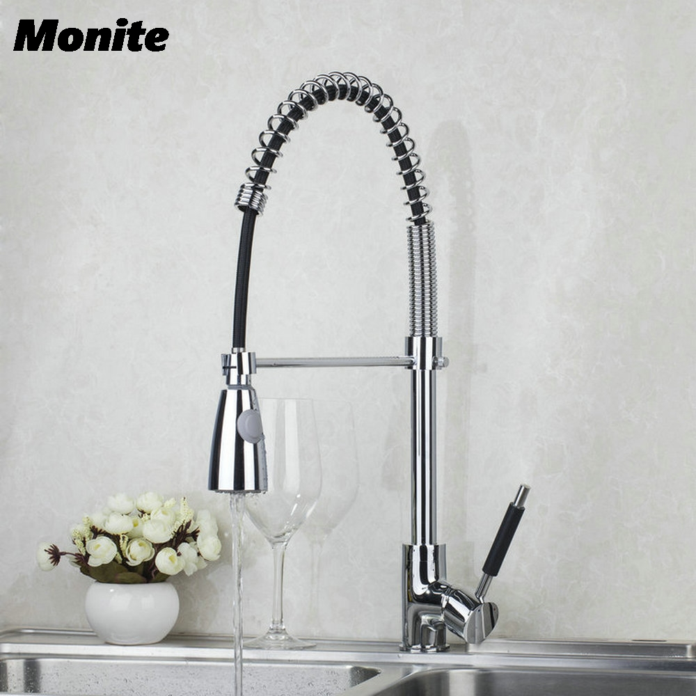 Chrome Single Hole Kitchen Faucet Brass Kitchen Pull Down & Swivel Spray Vessel Sink Mixer Tap Kitchen Faucet good quality wholesale and retail chrome finished pull out spring kitchen faucet swivel spout vessel sink mixer tap lk 9907