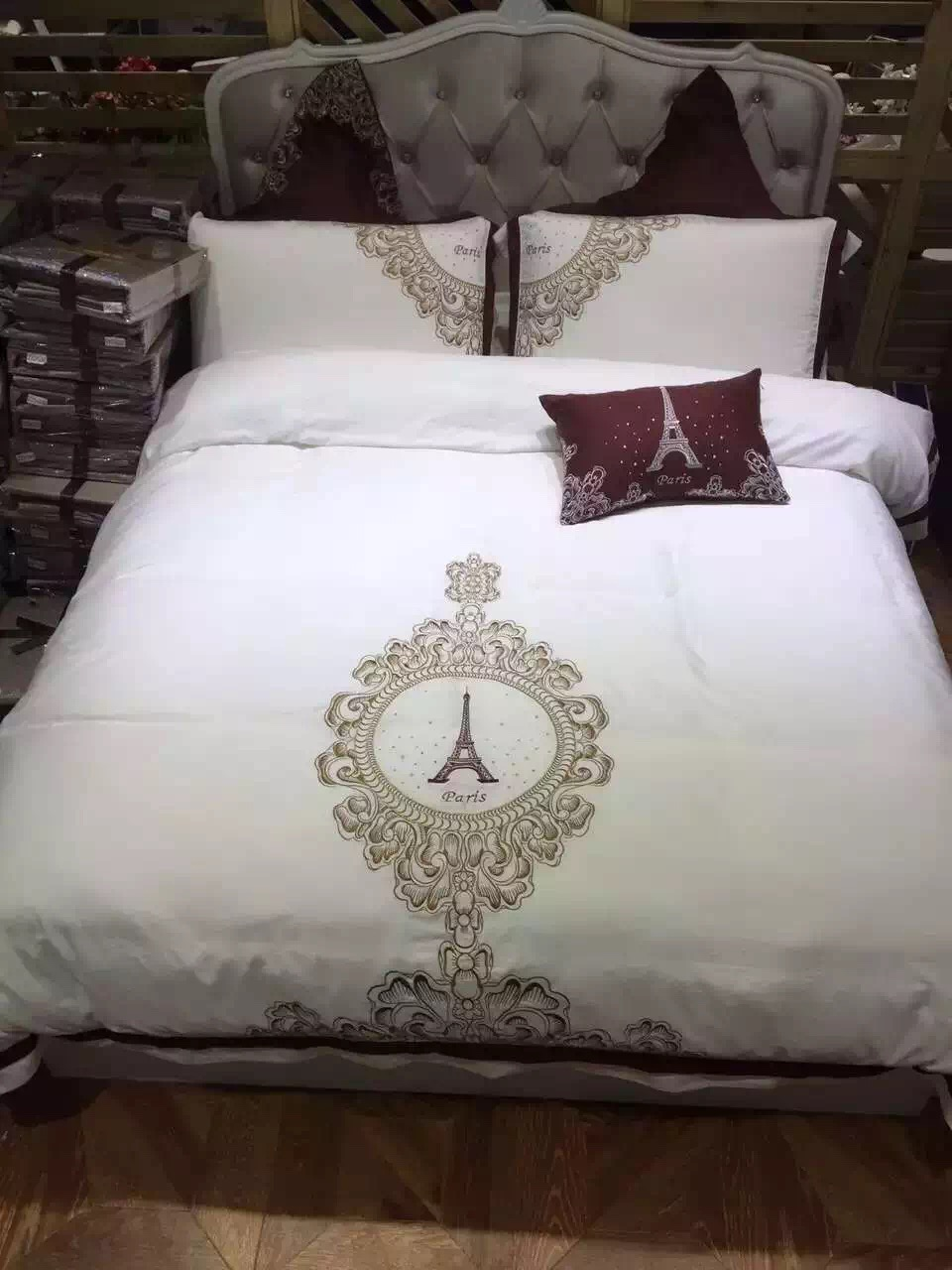 4pcs 100 sateen cotton 60s luxury white hotel style for Hotel style comforter