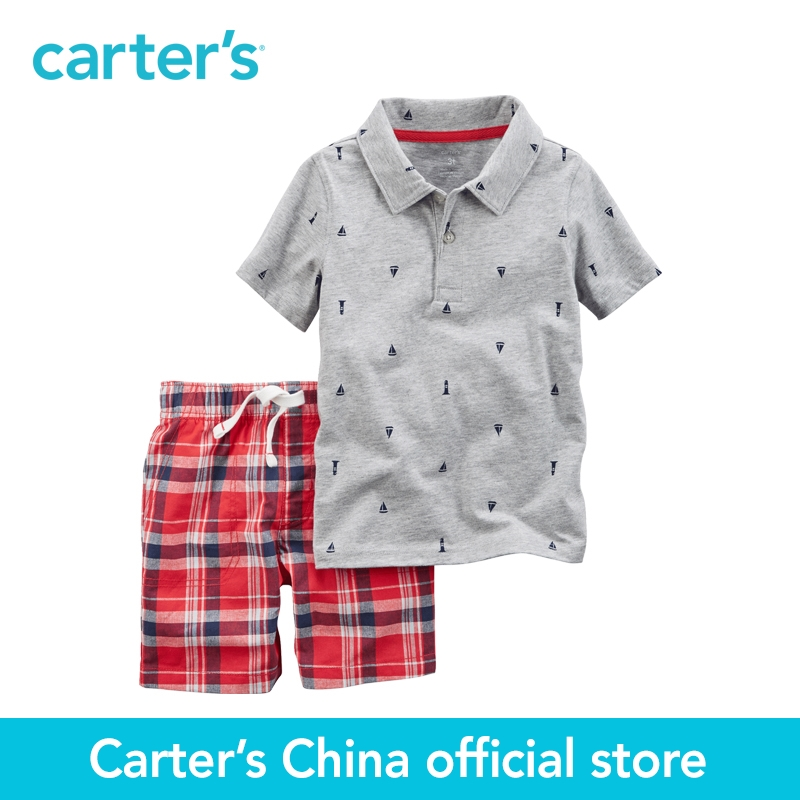 Carter's 2pcs baby children kids Printed Polo & Plaid Short Set 249G401,sold by Carter's China official store carter s 1 pcs baby children kids long sleeve embroidered lace tee 253g688 sold by carter s china official store
