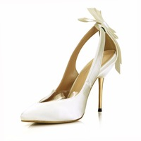 2019 women Elegant Style Pointed Toe Butterfly knot silk dress wedding prom high heel shoes for women ladies pumps 3845D 7d