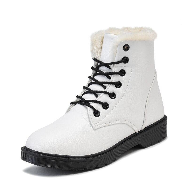 Dentelle En rouge Peluche Noir D'hiver Mode Coton Chaussures Bottes Étanche 2018 Chaud up Femmes De Étudiants Martin Fourrure Chaude blanc Neige Semelle xqqPwZRWv