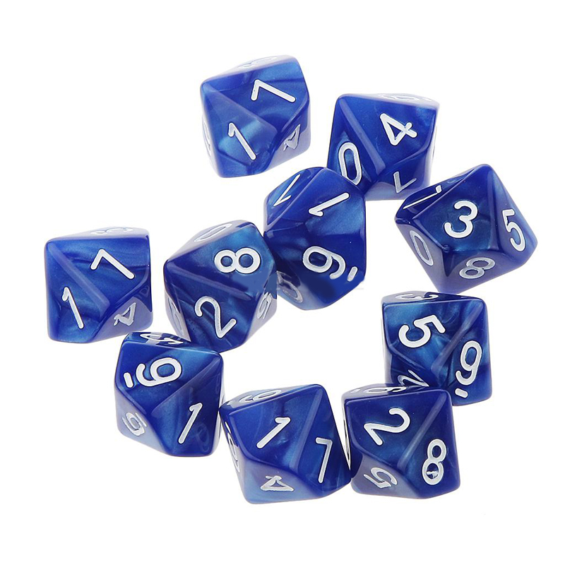 10x 10-sides D10 Ten Sided Pearl Gemmed Dices Dice For Outdoor Funny RPG Table Board Gambling Games Multi-color Dices Portable