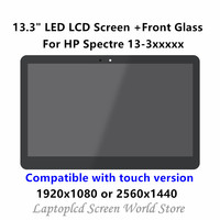 FTDLCD For HP Spectre 13 3 13 3010DX 13 3019tu 13 3010eg 13.3'' Replacement Laptop LCD Screen+Outer Front Glass LP133QH1 SPA1