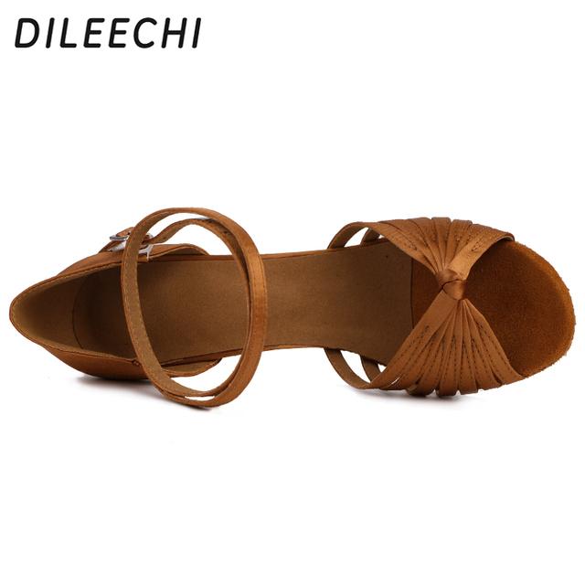 DILEECHI salsa women's latin dance shoes ballroom dancing shoes bronze heel 85mm satin soft outsole