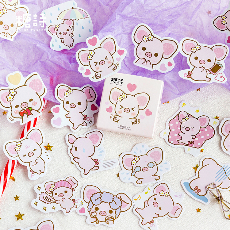 Cute Big Ears Pink Pig Decorative Stickers Scrapbooking Stick Label Diary Stationery Album Stickers