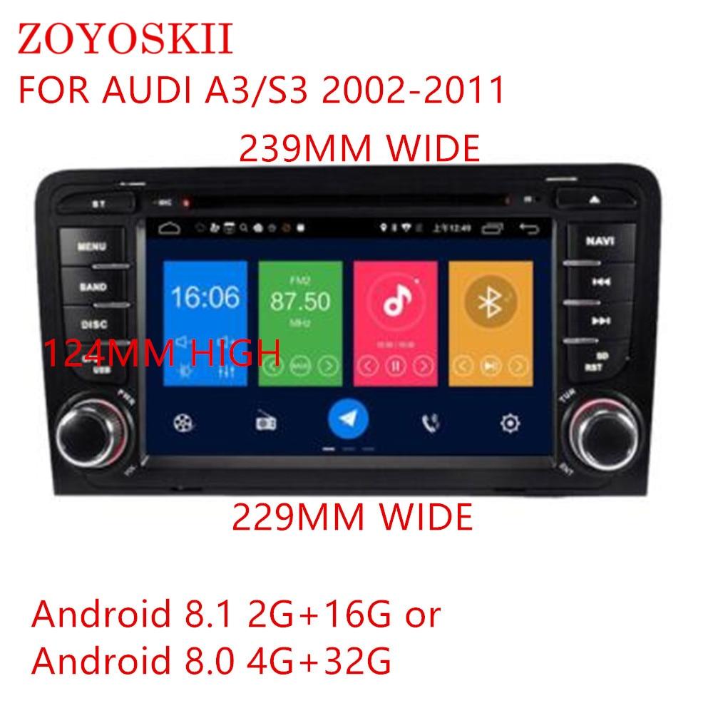 ZOYOSKII Android 8.0 8.1 7 pouces voiture DVD Radio GPS bluetooth lecteur de Navigation pour Audi A3/S3 2002-2011
