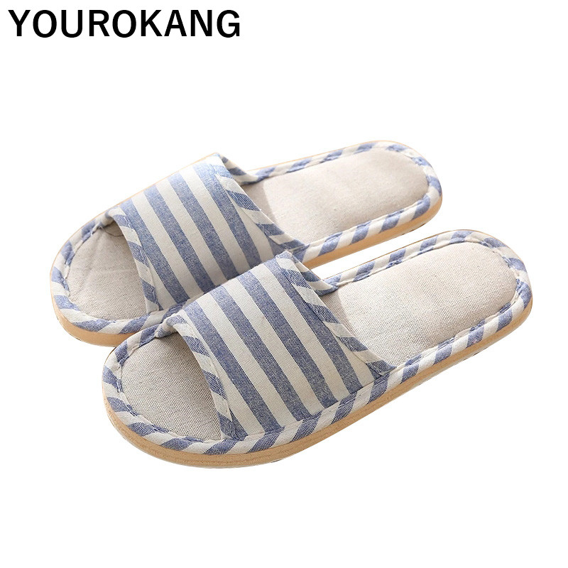 Spring Autumn Women Home Slippers Linen Flip Flops Striped Indoor Floor Female Flax Slippers Fashion Unisex Couple Beach Shoes