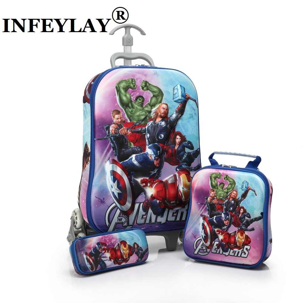 3D Anime stereo Student trolley case kids Travel suitcase can climb stairs cartoon Lunch bag The Avengers children pencil box