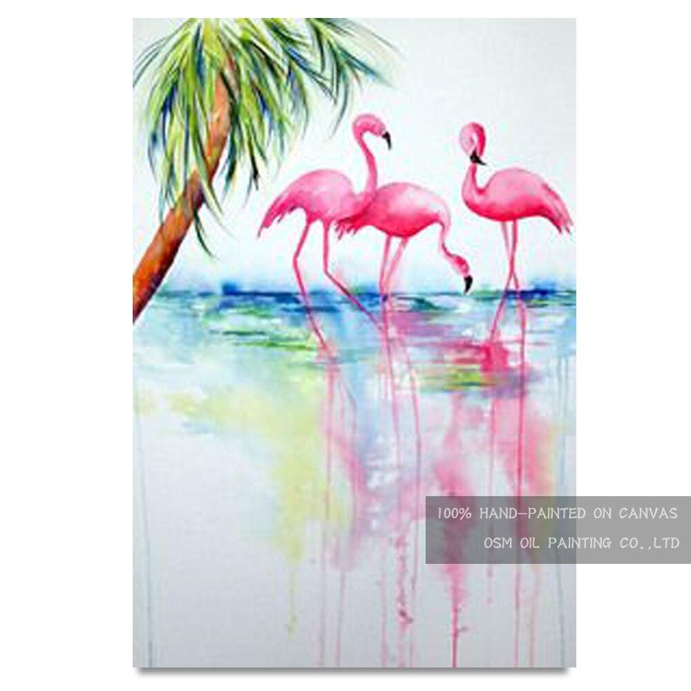 Meilleure décoration murale artiste peint à la main Flamingo peinture à l'huile sur toile rose Animal oiseau peinture à l'huile pour salon