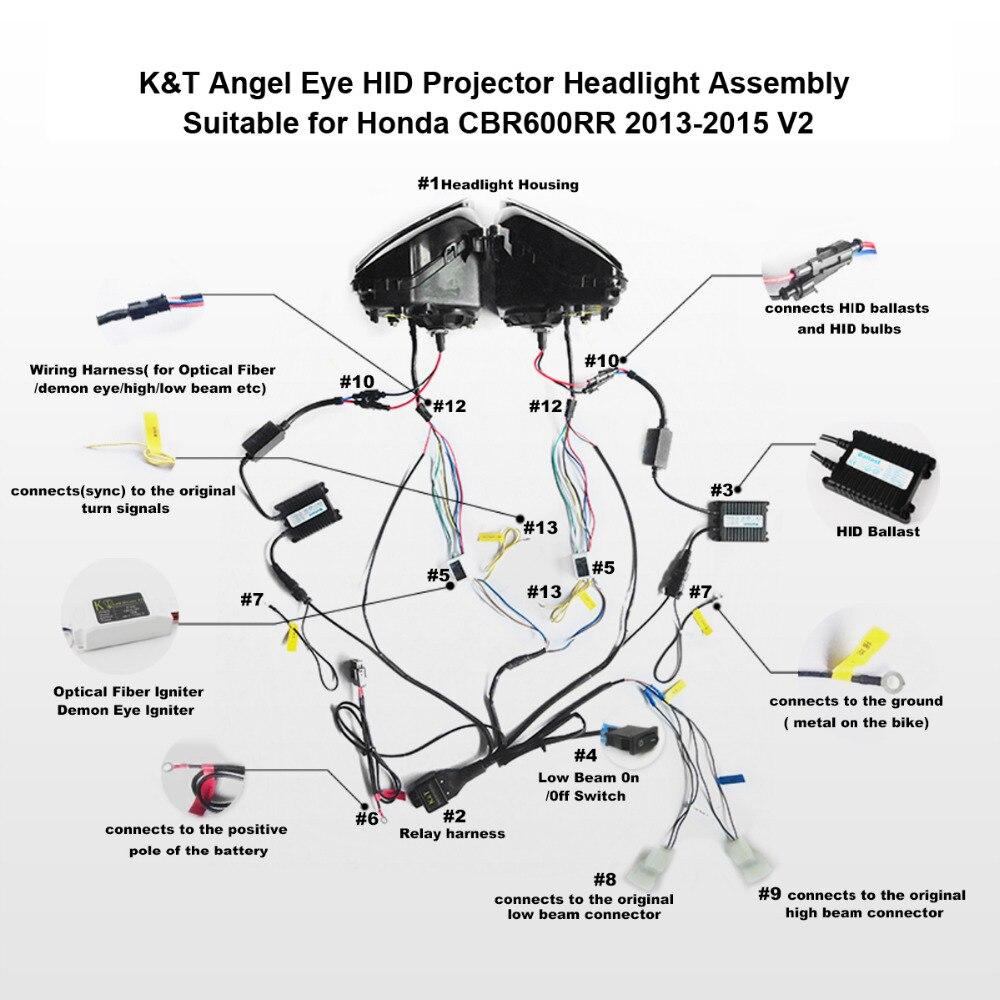 medium resolution of kt headlight for honda cbr600rr 2013 2016 led optical fiber motorcycle hid projector assembly 2014 2015 on aliexpress com alibaba group