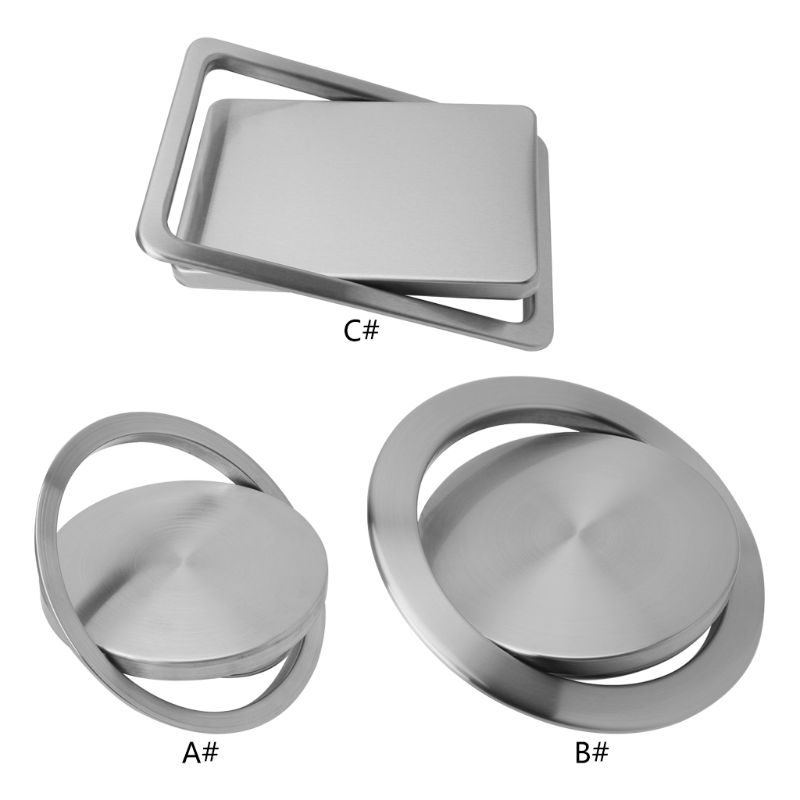 Stainless Steel Flush Recessed Built in Balance Swing Flap Lid Cover Trash Bin Garbage Can Kitchen Counter Top W315