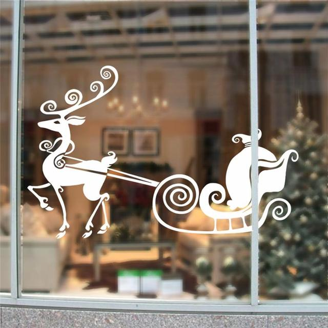 Reindeer Sleigh Merry Christmas Wall Stickers Room Covers Decor 038 Diy Vinyl Gift Home